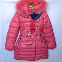 """Пальто зимнее детское для девочек """"LIA"""" терракотовое. Размер: 104-128(4-8 лет)"""