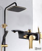 Смеситель для душа в ванную черный Aquaroom кран в раковину для умывальника