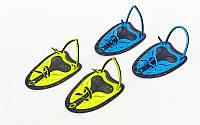 Лопатки для плавания гребные TP-200 (пластик, резина, р-р M-L, желтый, синий)