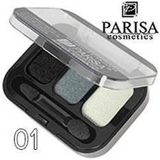 Parisa - Тени для век 3-цв. E-403 Тон 01 черные, серые, белые мерцающие