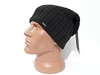 Зимняя мужская вязаная шапка Atis с кнопкой 33 Серый