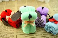 Собачка-полотенце, милый сувенир, подарок, небольшое полотенце, сложенное в виде собачки, цвет - салатовый