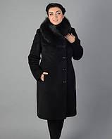 Зимнее пальто с вышивкой и мехом