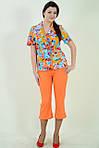 Бриджи лен , Интернет магазин женской одежды, 48,50,52,54,56,58, купить бр 009-3, Цвет АПЕЛЬСИН , фото 3