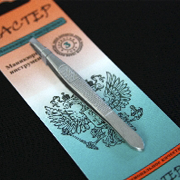 Пінцет для брів Майстер М 015 скошений срібло, 1 штука