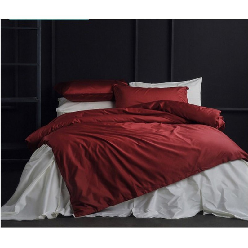 Постельное белье Сатин WINE RED+WHITE ТМ Царский дом  (Евро)