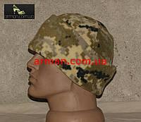 Шапка пиксель ВСУ (ММ-14). Для военнослужащих. Двойной плотный флис с отворотом, фото 1