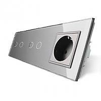 Сенсорный выключатель на 4 линии с розеткой Livolo, цвет серый, стекло (VL-C702/C702/C7C1EU-15)