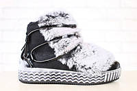 Женские зимние ботинки на меху, сверху натуральный мех кролика