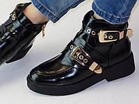 Ботинки женские черные глянцевые эко-кожа с двумя пряжками