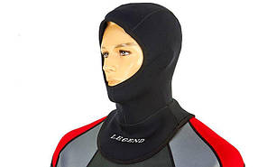Шлем для дайвинга LEGEND PL-6303 (3мм неопрен, р-р M-XXL, черный)
