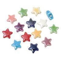 Бусина Звезда, Керамическая, Разные цвета, 15 мм x 15 мм, 2.7 мм, Цвет: Микс, Упаковка: 10 шт., фото 1