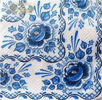 Салфетки столовые (ЗЗхЗЗ, 20шт)  La Fleur  Гжель  (404) (1 пач)
