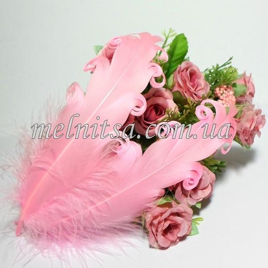 Перо гусиное, с завитками, 14-17 см,  цвет розовый