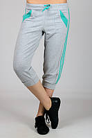 Бриджи спортивные женские серые с бирюзой брюки капри с лампасами трикотажные Турция