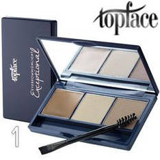 TopFace - Набор теней для бровей PT-504 3-цв ТОН 01 light brown, beige, grey beige
