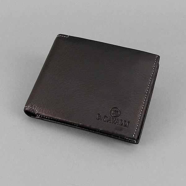 Кошелек мужской кожаный черный съёмное отделение B. Cavalli