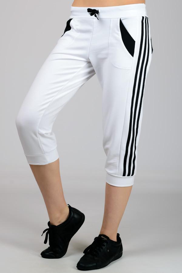 Белые с черным бриджи спортивные женские брюки капри с лампасами трикотажные Турция