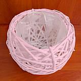 Корзина из лозы розовая 19 см, фото 2
