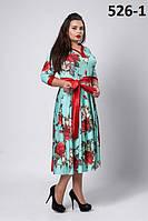 Платье новинка Розалия праздничное больших размеров  50, 52, 54 бирюзовое, синее, голубое, цветочное