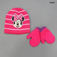 Шапка Minnie Mouse с варежками для девочки. 36-42 см