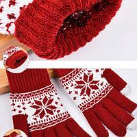 Перчатки со снежинкой для сенсорных телефонов и планшетов, фото 1