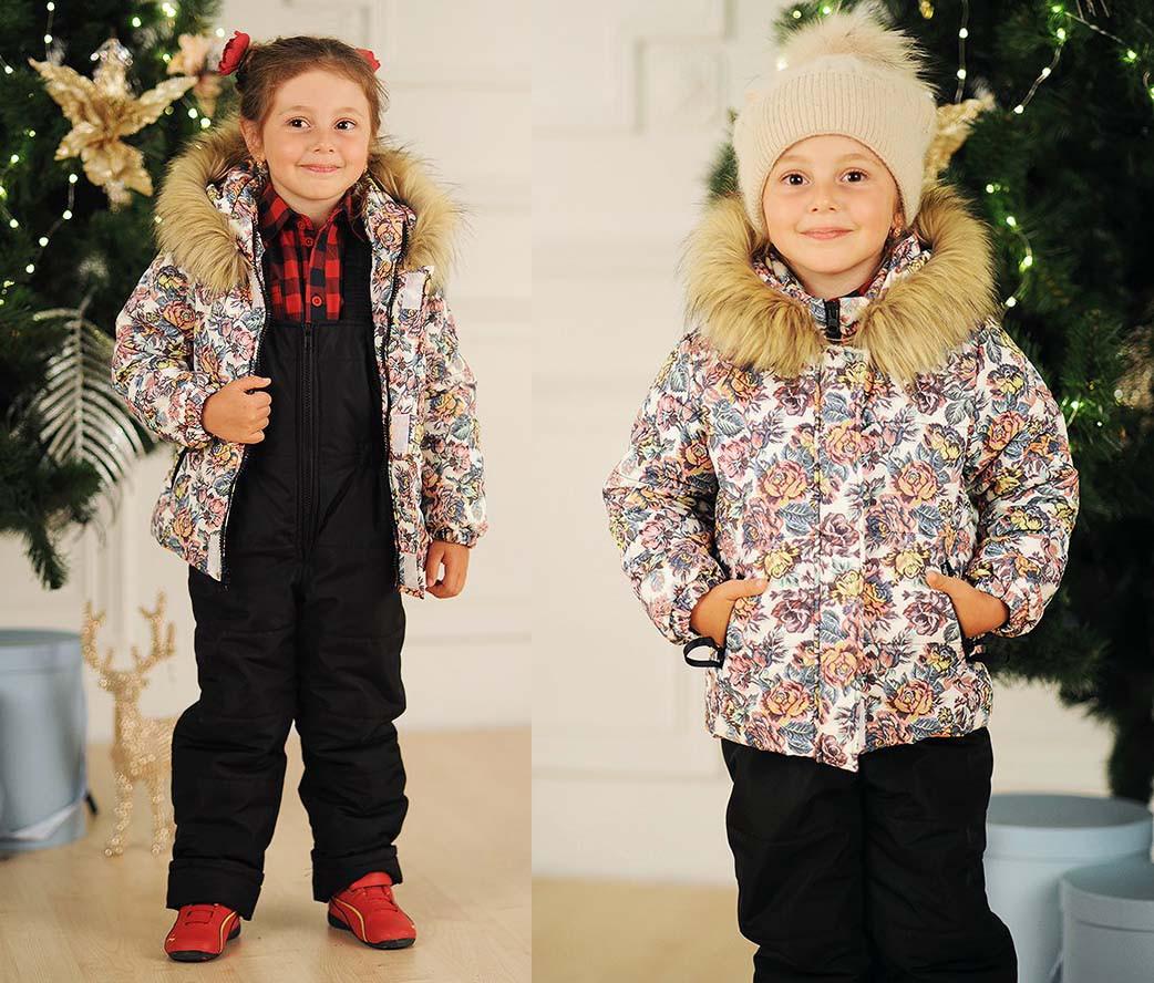 """Детский тёплый горнолыжный костюм комбинезон + куртка 4044 """"Принт Мех Комби"""""""