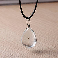 Ожерелье, Подвеска, Шнур, Кулон - Одуванчик, Стеклянный, Прозрачный, Капля, 45 см