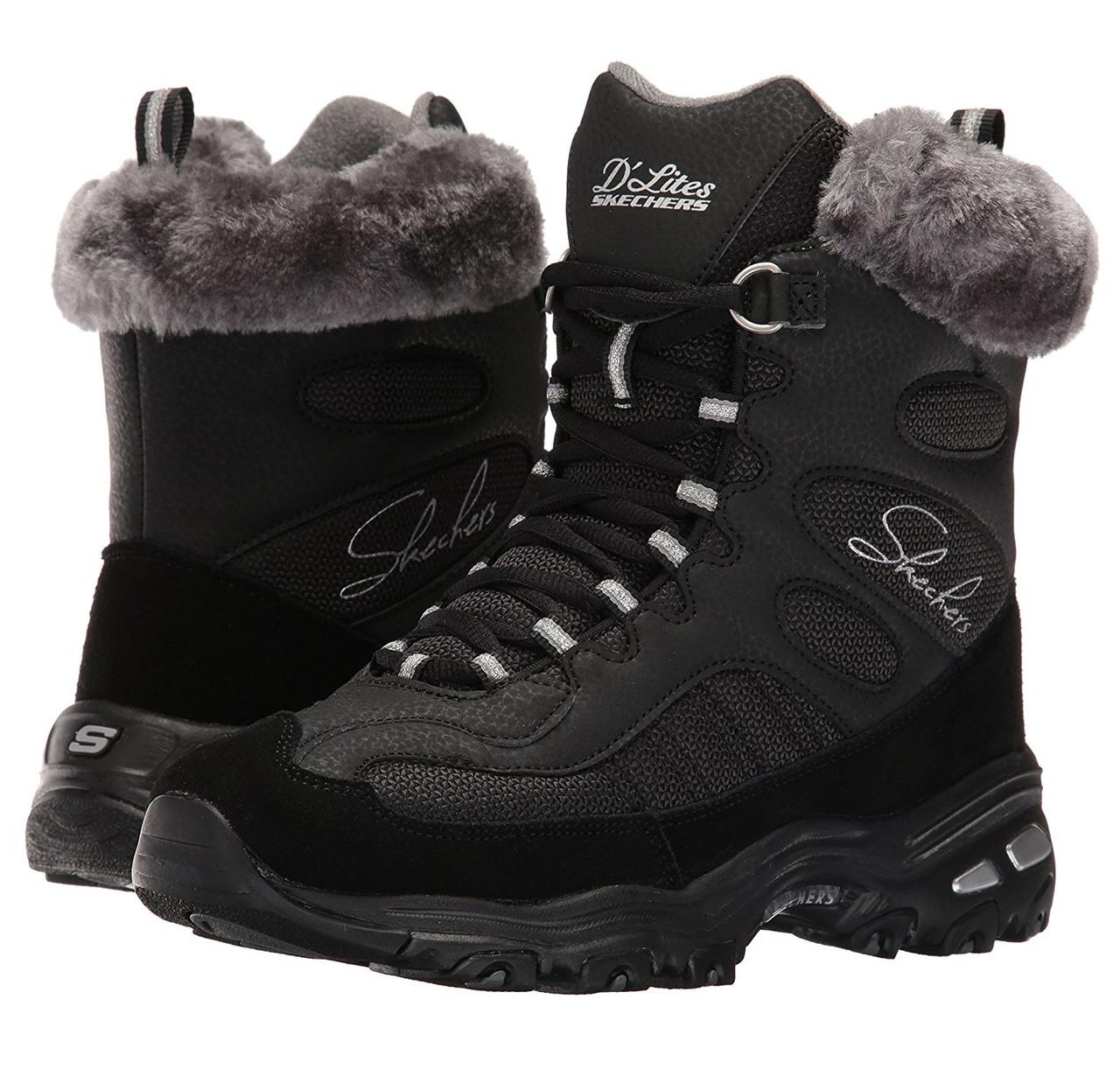 e647fd549 Ботинки зимние женские Skechers Women's D'Lites Chalet Lace Up Faux Fur  Collar Winter Boot
