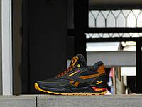 Мужские кроссовки с нат. кожи Reebok Черный\Рыжий р. 40 41