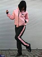 Батальный теплый спортивный костюм из плащевки цвет черный, пудра. Арт-14117