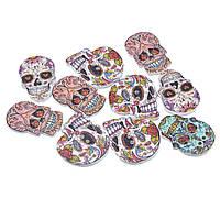 Пуговица с двумя отверстиями, День мертвых, Helloween, Череп, 24.5 мм x 17.5 мм, Цвет: Микс, Упаковка: 10 шт.