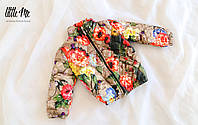 Демисезонная куртка на девочку (цветочный принт)