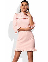 Мини платье розовое с отделкой рюшами