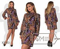 Платье прямое из принтованного французского трикотажа с воротником-стойкой большого размера  48,50,52,54,56