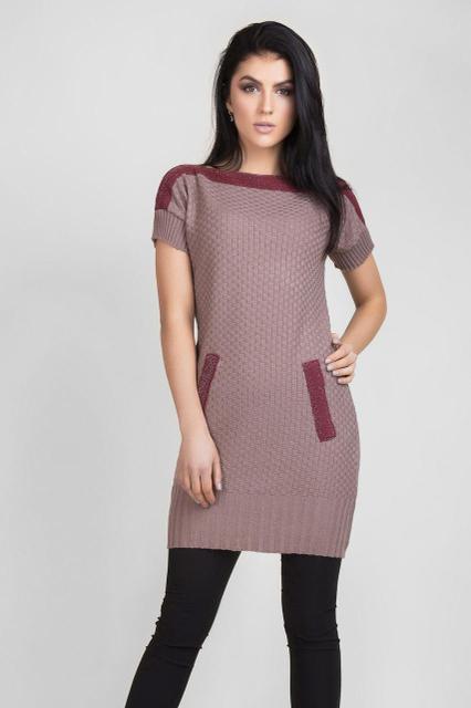 Вязаное платье с коротким рукавом 1412