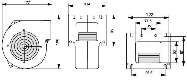 Размеры вентилятора NWS-100 Novosolar