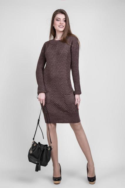Коричневое вязаное платье 1413
