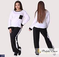 a1c96f3e6e7 Модный свободный батальный трикотажный костюм с черными брюками и белым  джемпером. Арт-14168