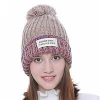 Бежевая стильная женская шапка с бубоном, зимняя, теплая