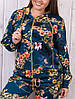 Спортивный костюм женский Турция с цветочным принтом 2-ка  на молнии  батал морской волны