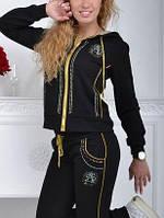 Стильный батальный спортивный костюм женский Турция однотоный на змейке чёрный, фото 1