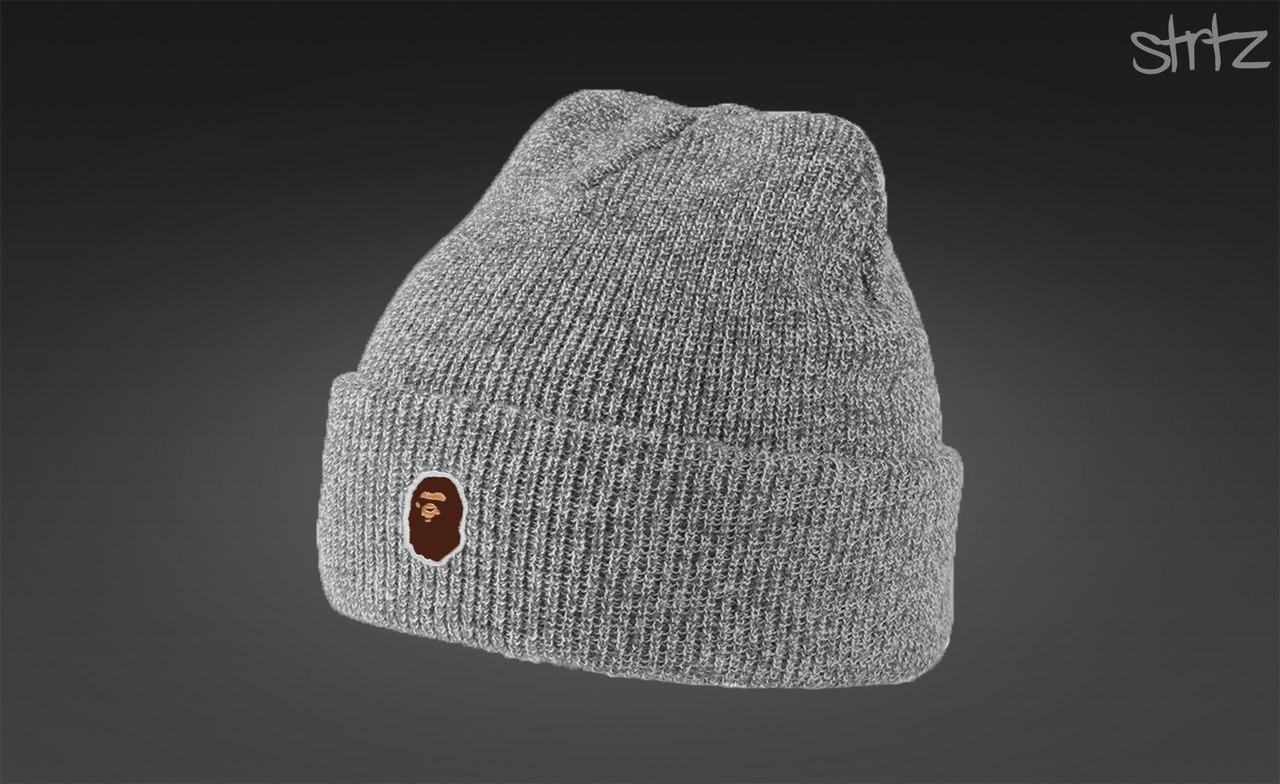 Стильная серая шапка Bape