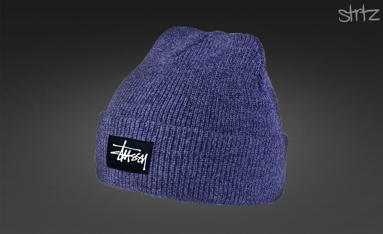 Синяя зимняя шапка Stussy