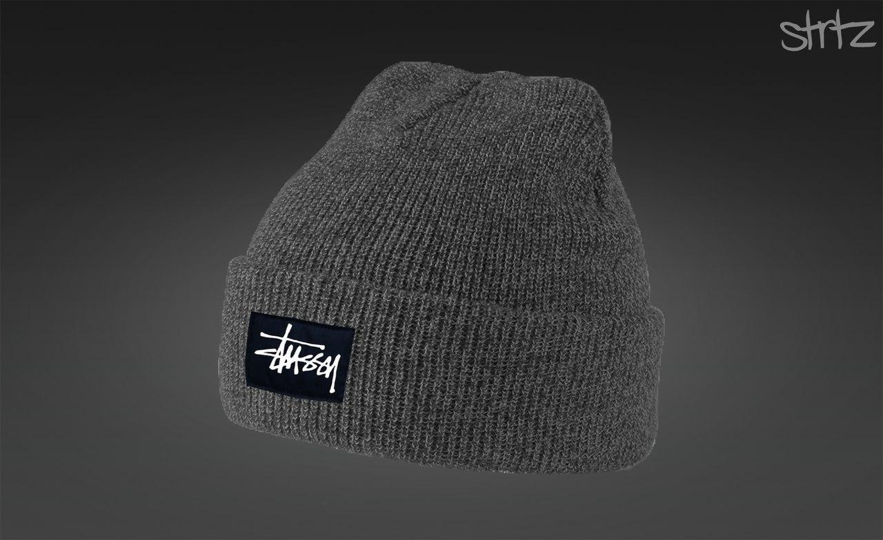 Сіра тепла шапка Stussy