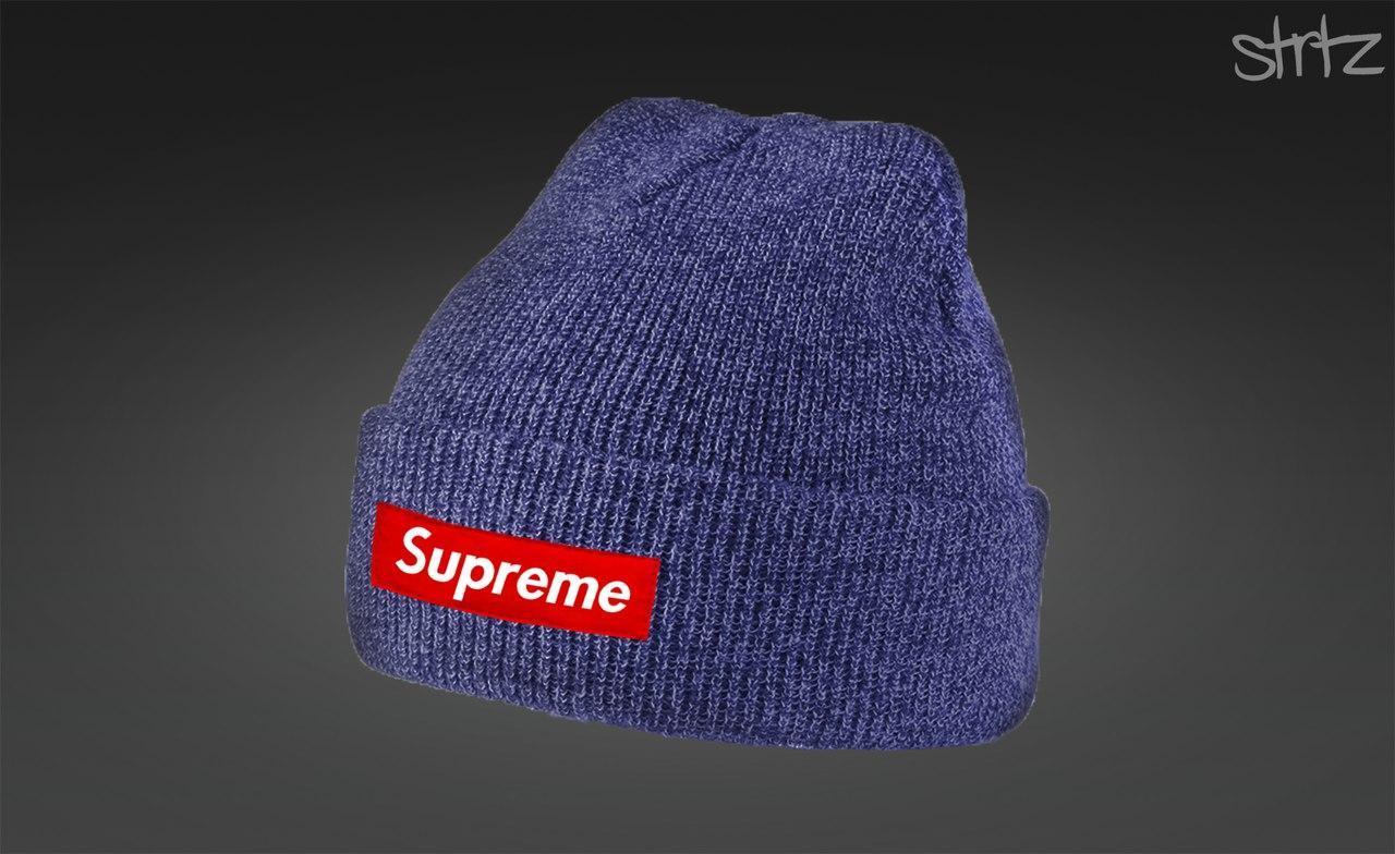 Синяя зимняя шапка Supreme