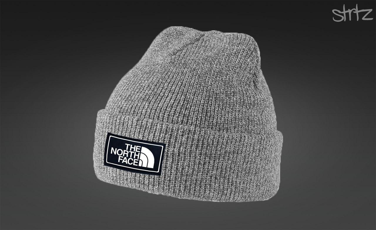 Серая стильная шапка The North Face
