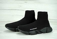 Кроссовки женские Balenciaga Knit High-Top Sneakers Black/Black баленсиага, фото 3