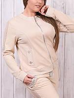 Турецкий брендовый гламурный батальный спортивный костюм женский 50 52 54 капучино, фото 1