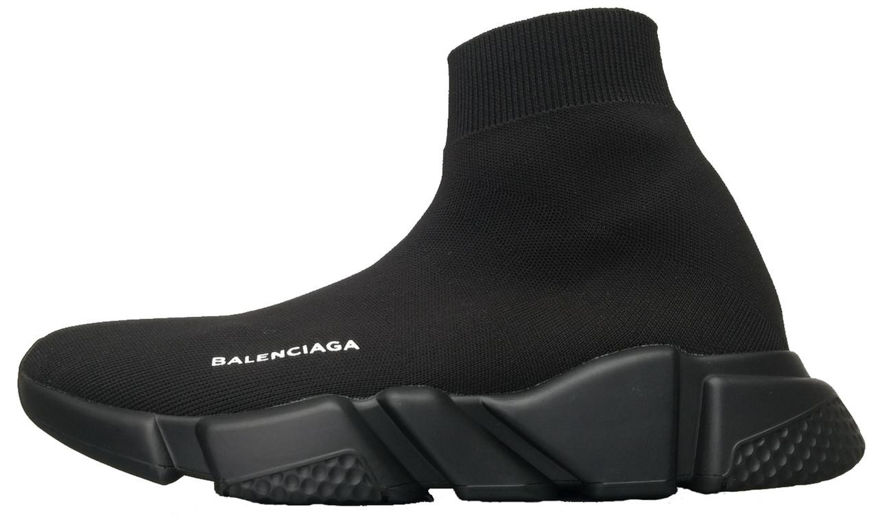Кросівки чоловічі Balenciaga Knit High-Top Sneakers Black/Black баленсіага чоловічі. ТОП Репліка ААА класу.